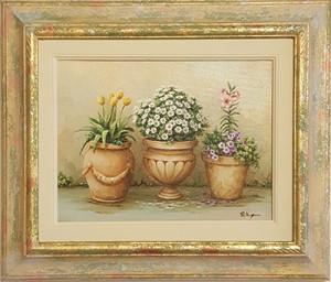 """Vera Pellegrino """" Vasi con tulipani e margherite"""" 18x24"""