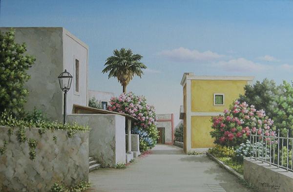 "Vera Pellegrino "" Strada fiorita"" 40x60"
