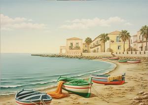 """Vera Pellegrino """" marina con barche"""" 24x30"""