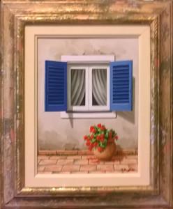 """Vera Pellegrino """"Finestra con persiane blu"""" 18x24"""