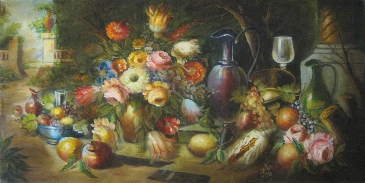 Olio su tela di Cicas, natura morta, soggetto originale in stile classico.