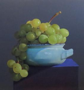 """Salvatore Grasso, olio su tela 40x40 """"Centrotavola con uva bianca"""""""