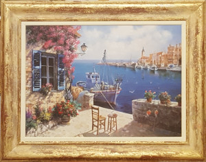 """Oleografia 50x70 """" Casa sul mare con terrazza e barca"""""""